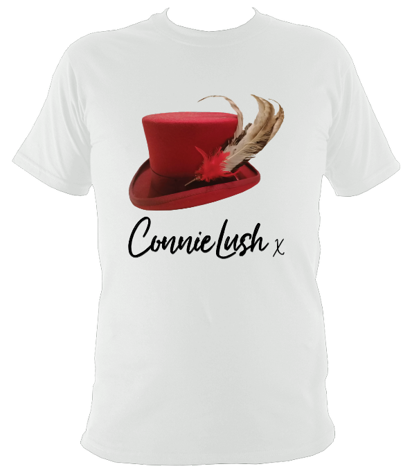 No.5: Ms Connie's Red Top Hat And Feathers (White T-shirt)